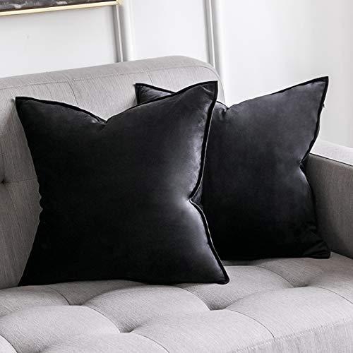 MIULEE 2er Set SAMT Kissenbezug Kissenhülle Dekorative Dekokissen mit Verstecktem Reißverschluss Sofa Schlafzimmer 18x 18 Inch 45 x 45 cm 2er Set Schwarz
