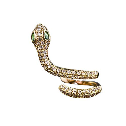 EVBEA Earings for Womens Ladies Pierced Snake Cubic Zirconia CZ Cartilage Stud Right Ear Earrings Latest Stylish Novelty Gift for Girls Yellow