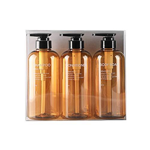 MYBOON 3Pieces Set di Bottiglie vuote da 500 ml Shampoo Gel Doccia Balsamo per Capelli Dispenser per Sapone Dispenser per Sapone Blu