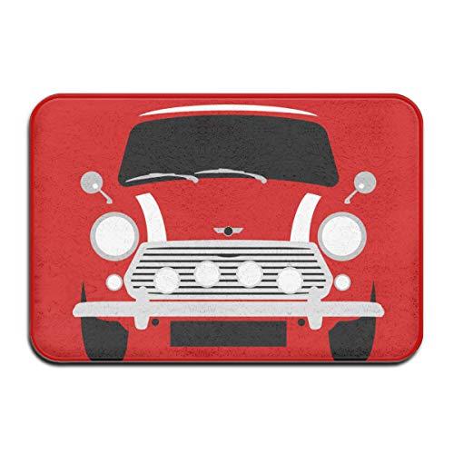 Classic Mini Cooper Car Doormat Door Mat For Indoor Kitchen Bathroom Living Room Non-Slip Rug Doormat White 23.6 X 15.8 Inch