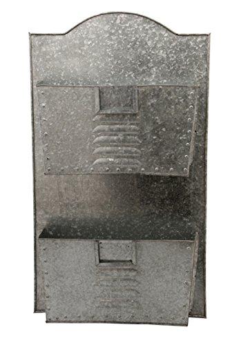 Benjara BM03179 verzinktes Metall, 2 Etagen, Wandtasche, Organizer, Grau