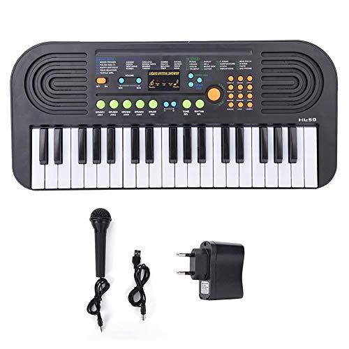 Digitaal Muziek Elektronisch Toetsenbord, 37-Key Elektrisch Toetsenbord Piano Muziekinstrumenten Kinderen Speelgoed met Microfoon Gesimuleerd Muziekinstrument Model Speelgoed(Zwart)