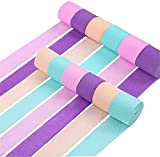 RUBFAC 12 Rolls 984ft Crepe Paper Streamers Unicorn Party Supplies Decorations for Kids Birthday Party Baby Shower Bridal Shower
