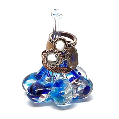 Art Glass Ring Valet in Crystal Blue