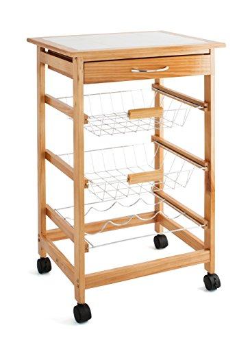 Quid Cart Verdulero con 2 cestas y bottelero, Madera, Marrón, 38x18.5x71 cm