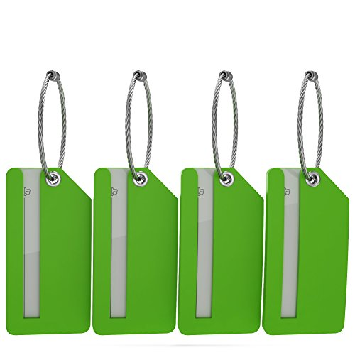 Small Luggage Tags with Privacy Cover & Metal Loop - (4pk, Green)
