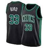 ZJMS Retro Boston Celtics Uniforme De Baloncesto # 33 Larry Bird Jersey De Hombre Deporte Cómodo Bordado De Malla De Baloncesto Swingman Jersey, 100% Poliéster Black-XL