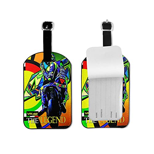 Valentino Rossi VR46 Luggage Tags Microfiber Leather Personalized Suitcase Tag Set Luggage id Tags Labels Travel Accessories Microfiber PU Leather 2.7*4.3inch