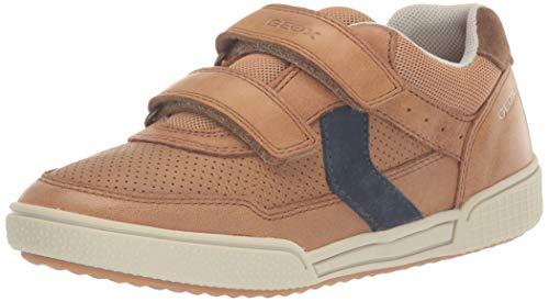 Geox Jungen J Poseido Boy A Sneaker, Braun (Cognac/Blue C6n4e), 34 EU