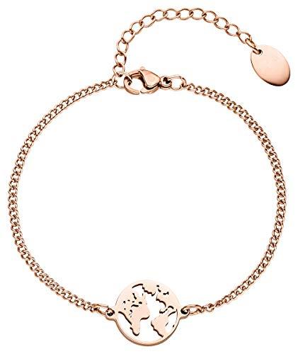 Weltkugel Armband – 18 Karat Echtgold Plattierung | in Silber, Rose, Gold | 16cm + 5cm (extra) | hochwertige Schmuckschachtel