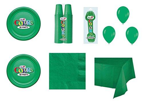 Big Party Coordinato Monocolore Verde per Feste E Eventi - Kit n°21 CDC - (50 Piatti, 100 Bicchieri, 50 TOVAGLIOLI,1 TOVAGLIA, 40 FORCHETTE, 100 Palloncini)