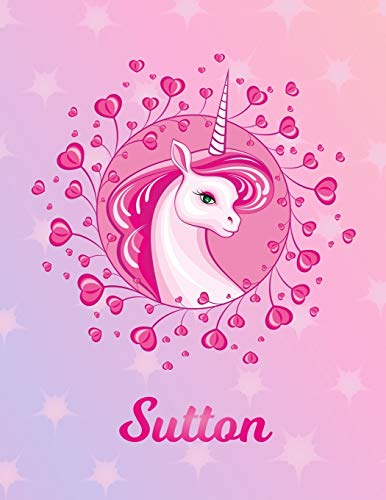 Sutton: Unicorn Sheet Music Note Manuscript Notebook Paper – Magical Horse Personalized Letter S Initial Custom First Name Cover – Musician Composer … Notepad Notation Guide – Compose Write Songs