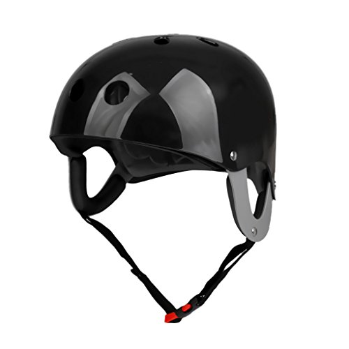 MonkeyJack Pro Safety Adjustable Helmet CE Approved for Whitewater Waterskiing Sports Kayaking Sailing Rafting Boating Head Circumference 22.4''-24.4'' - Black