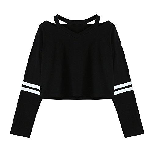 UJUNAOR Mädchen Langarm T-Shirt Herbst Outwear Süß Kurz Sti Top Bluse V-Ausschnitt(Schwarz,CN L)