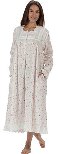 The 1 for U 100% Baumwolle Praire Stil Nachthemd mit Taschen - Henrietta - XS - XXXXL - Creme - Vintage Rose, XL