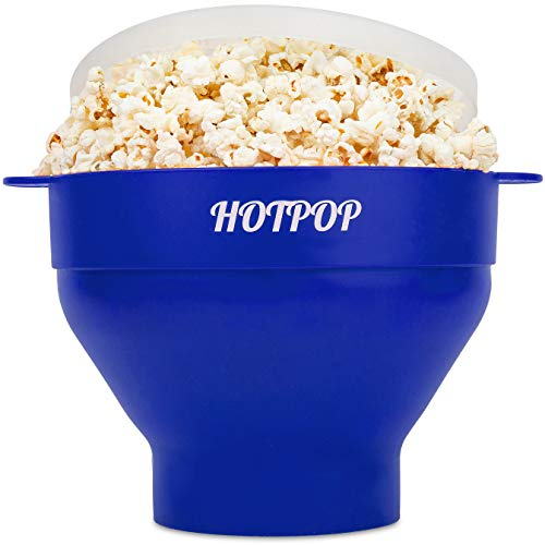 The Original Hotpop Microwave Popcorn Popper, Silicone Popcorn Maker, Collapsible Bowl Bpa Free and Dishwasher Safe - 17 Colors Available (Blue)