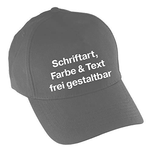 Multifanshop Baseballcap Druck vorne (Anpassung von Text, Schriftart, Schriftfarbe und Artikel Farbe) Bedrucken Wunschtext Cap Kappe Mütze, Farbe:grau dunkel
