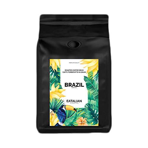 EATALIAN by AMZ BETTER Brasilien, Geröstete Kaffeebohnen 1 kg, Feiner Kaffee mit Weichem Geschmack, 100% Arabica, Intensives Aroma, Made in Italy (geröstet und verpackt in Italien)