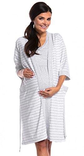 Zeta Ville - Premamá camisón Set Bata Embarazo Lactancia de Rayas - Mujer - 190c (Mezcla De Grises, 42-44, XL)