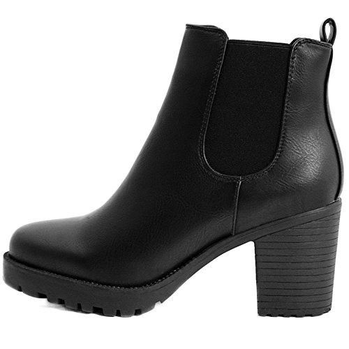 FLY 4 Chelsea Boots Plateau Stiefeletten in vielen Farben und Mustern (39, Schwarz PU)