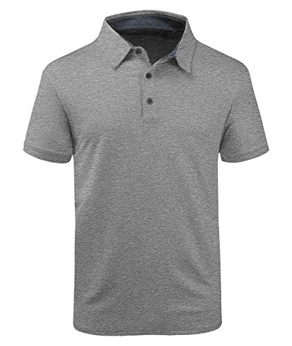 ZITY Mens Polo Shirt Cool Quick-Dry Sweat-Wicking Short Sleeve Sports Golf Tennis T-Shirt Light Grey-2XL