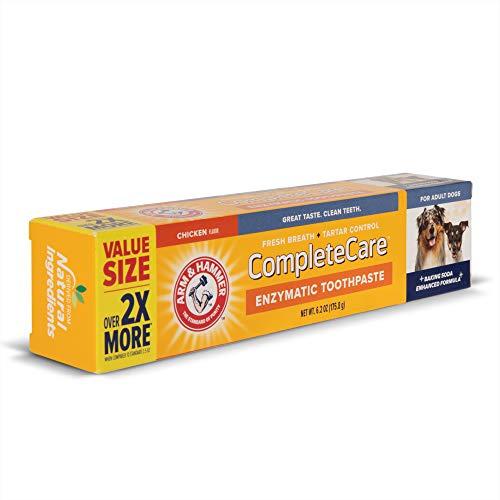 Arm amp Hammer Complete Care Enzymatic Dog Toothpaste Value Size | 62 oz Chicken Flavor Enzymatic Dog Toothpaste 2X More Toothpaste | Baking Soda Enhanced Formula for Fresh Breath amp Tartar Control
