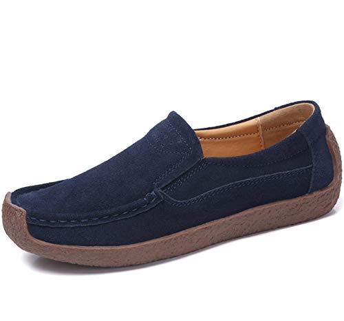 ZYLL Mocasines de Cuero de Gamuza para Mujer Casual Redondo de Punta de Punta de Punta de Punta Silvestres Zapatos de Moda,Azul,39
