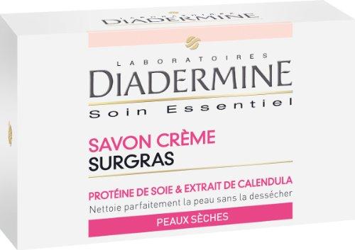 Diadermine - Savon Visage et Corps Surgras - Enrichi en Protéine de soie et Extrait de Calendula - Nettoie la Peau sans la déssécher - Peaux Sèches - Savon de 100g - Lot de 6