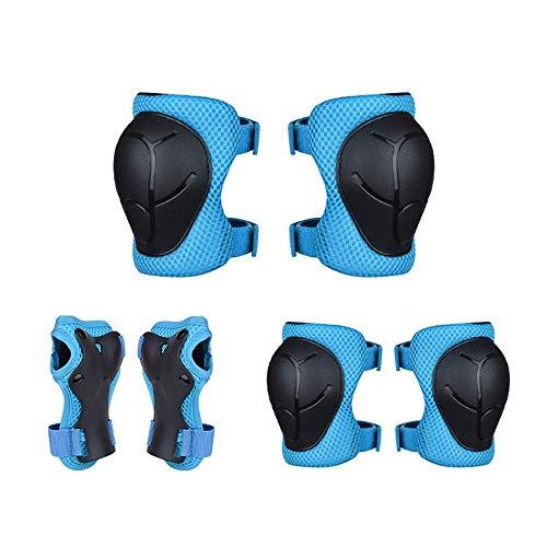 Equipo protector de monopatín para niños, 3 – 7 años, rodillera, coderas, muñequeras, juego 3 en 1 para scooter, bicicleta, patinaje, patinaje, deportes, principiante (azul)