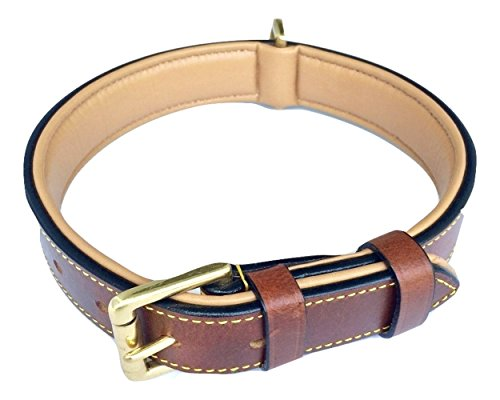 Soft Touch Collars Padded Leather Dog Collar, Brown Medium, Genuine Real Leather, Best for Male or Female Dogs, 20