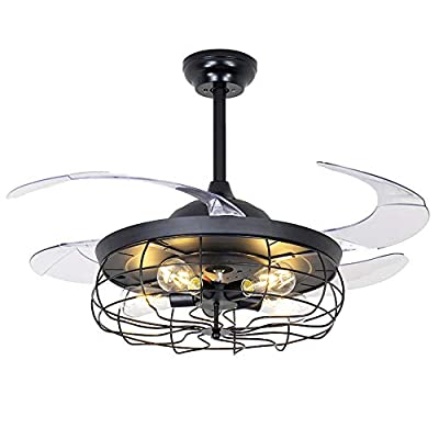42 Inch Retro Industrial Ceiling Fan Light Retractable Acrylic 4 Blade Ceiling Fan Chandelier Indoor Chandelier Pendant Decor