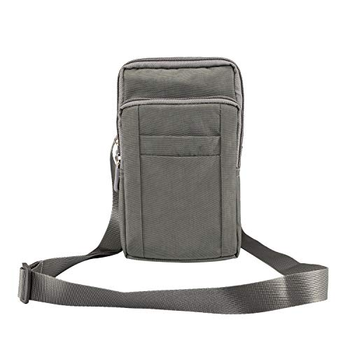 GUOQING Clip para cinturón de teléfono con clip para iPhone Xs Max XR 7 8 Plus, bolsa de mano para deportes al aire libre (color: gris)