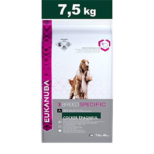 Eukanuba Croquettes Premium pour Chiens Cocker Anglais, Springer Spaniel, Cocker américain - Recommandé par les vétérinaires - 100% Complètes et Equilibrées - Au Poulet - 7,5 kg