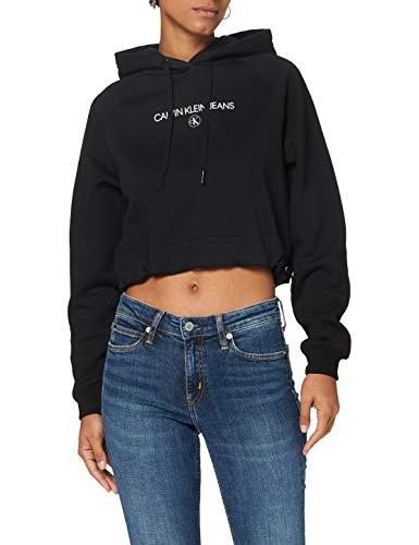 Calvin Klein Inst Round Hoodie Maglione, CK Black, M Donna