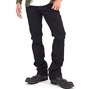 [イナセ] メンズ シューカット ブーツカット チノパン スリム ストレッチ パンツ 12-ブラックシューカット 3Lサイズ