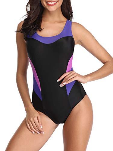 Women's One Piece Swimsuits for Women Athletic Training Swimsuits Swimwear Racerback Bathing Suits for Women Pure Purple Swimsuits Medium (fits Like US 6-8).Prime