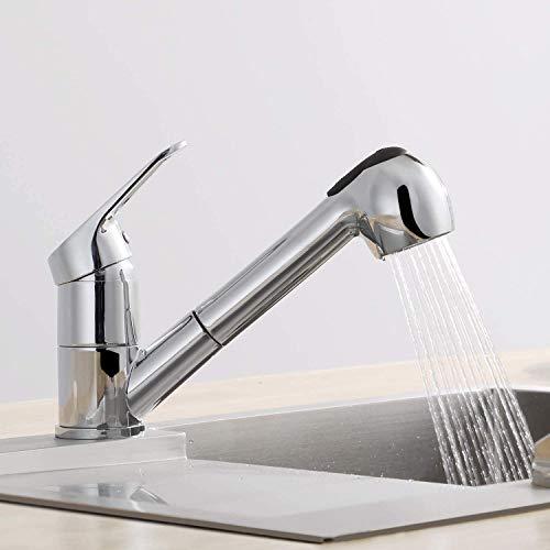 CECIPA Küchenarmatur mit Ausziehbarer Handbrause, 360°Drehbarer Wasserhahn Küche Armatur, 2 Funktionen mit Warmem und Kaltem Wasser für die Küche