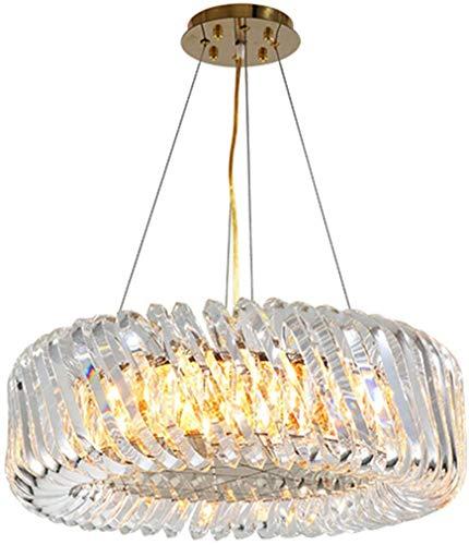 YQDSY Luz de Cristal de Cristal de Anillo de Lujo Moderno, E14 Luz Colgante Ajustable con Lámpara de Cristal Transparente Lámparas de Techo de Pantalla para Sala de Estar Comedor-Or