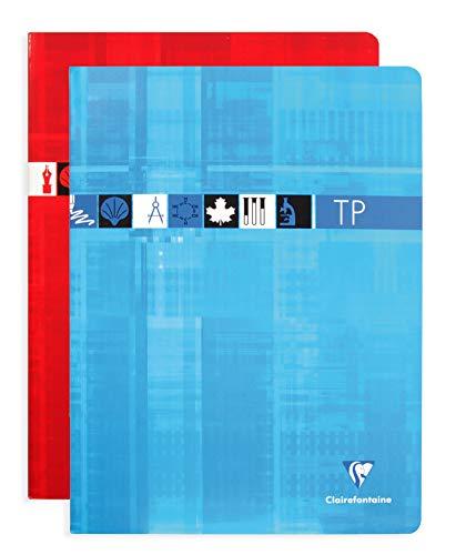 Clairefontaine 3347C - Un cahier piqué de travaux pratiques 120 pages 24x32 cm grands carreaux 90 g et unies 125 g, couverture carte pelliculée couleur aléatoire