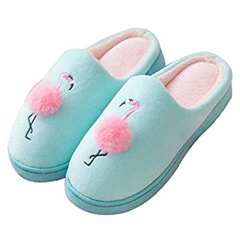 Womens Slippers Cute Animal Flamingo Slippers Winter Warm Slippers Fur Slippers Non-Slip Shoes Women Green 7.5