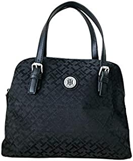 Tommy Hilfiger Women's Signature Logo, Top Zipper Handbag - Black