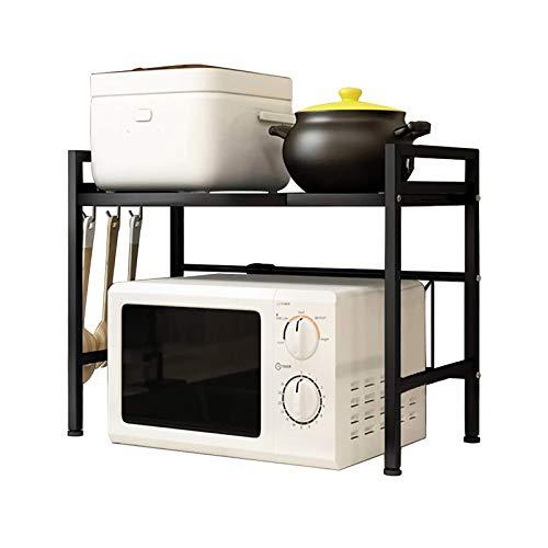 YNGJUENCP Rejilla Extensible para Horno Microondas, Carga Pesada, Soporte para Microondas con 3 Ganchos para Colgar, Organizador De Almacenamiento De Cocina (Negro, 41,5-60 Cm * 36 Cm * 46 Cm)