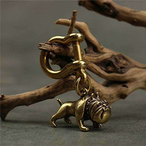 NC Pure Brass Cute Cartoon Dog Key Chain Pendants,Vintage Metal Copper Animal French Bulldog Pug Figurines Keychain Hanging Jewelry