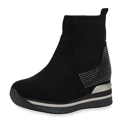 SCARPE VITA Dames Plateau Sneaker Pruik Schoenen Strass Wedges Keilsneaker Plateauzolen Metalen Slip On Sock Turnschoenen
