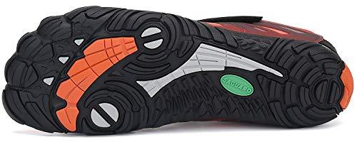 SAGUARO Barfußschuhe Herren Zehenschuhe Outdoor Traillaufschuhe Männer Straßenlaufschue Five Finger Schuhe St.2 Orange 44 - 4