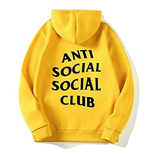 Hombre Mujer Sudaderas con Capucha Invierno Terciopelo Forro Casual Pull-Over Hip Hop Anti Social Social Club Estampada Manga Larga con Bolsillo