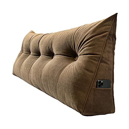 QZENENE Cojín triangular para respaldo de cuña de 60,9 x 20,8 x 50,8 cm, cojín triangular para lectura, para sofá cama, cojín lumbar, color marrón