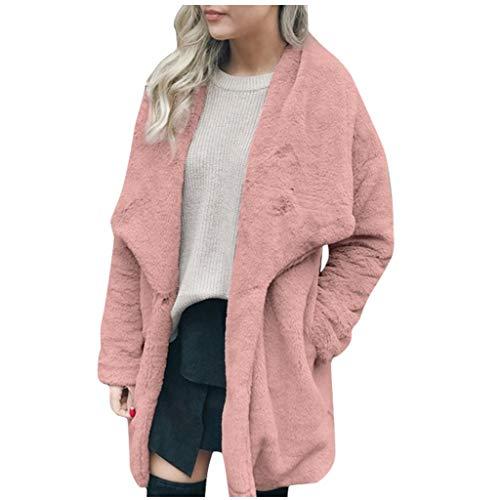 HDUFGJ Damen Revers Pullover Plüsch Pocket Long Outercoat Coat Strickjacken für Winter Pullover Hoodies Top Strickjacken Sportswear Kapuzenpullover XXL(Rosa)