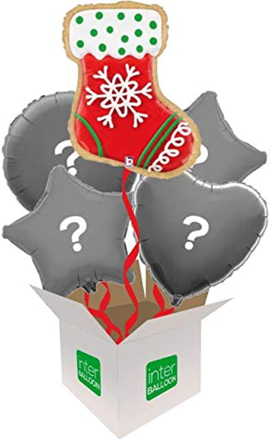 InterBalloon Helium Inflated 27  Stocking Cookie Balloon Delivered in a Box with 4 Extra Balloons of your choice