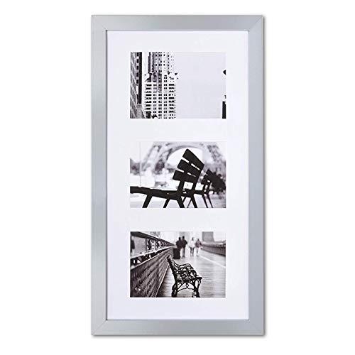 Muzilife Grau Galerie Bilderrahmen für 3 Fotos mit Passepartout 13x18cm Aufhängung Mehrfach 3er Fotorahlem 3 Ausschnitten (25x50cm)